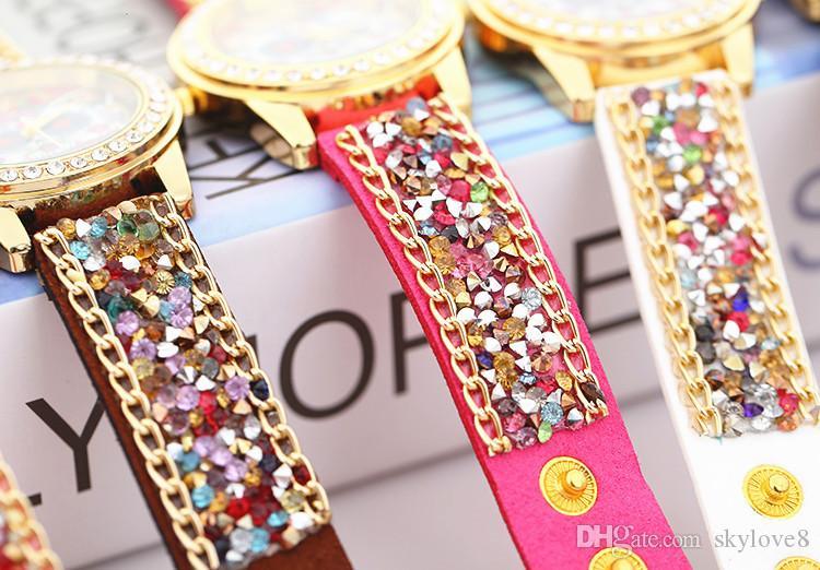 특별 새로운 만화 제네바 모조 다이아몬드 스톤 시계 벨벳 벨트 버클 시계 럭셔리 다이아몬드 여성 합금 시계 올빼미 시계