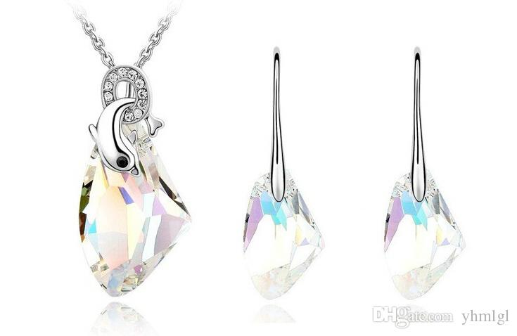 Brand New 2014 Аутентичные формы австрийский кристалл моды Нерегулярное ожерелье серьги Ювелирные наборы Свадебные платья партии оптом