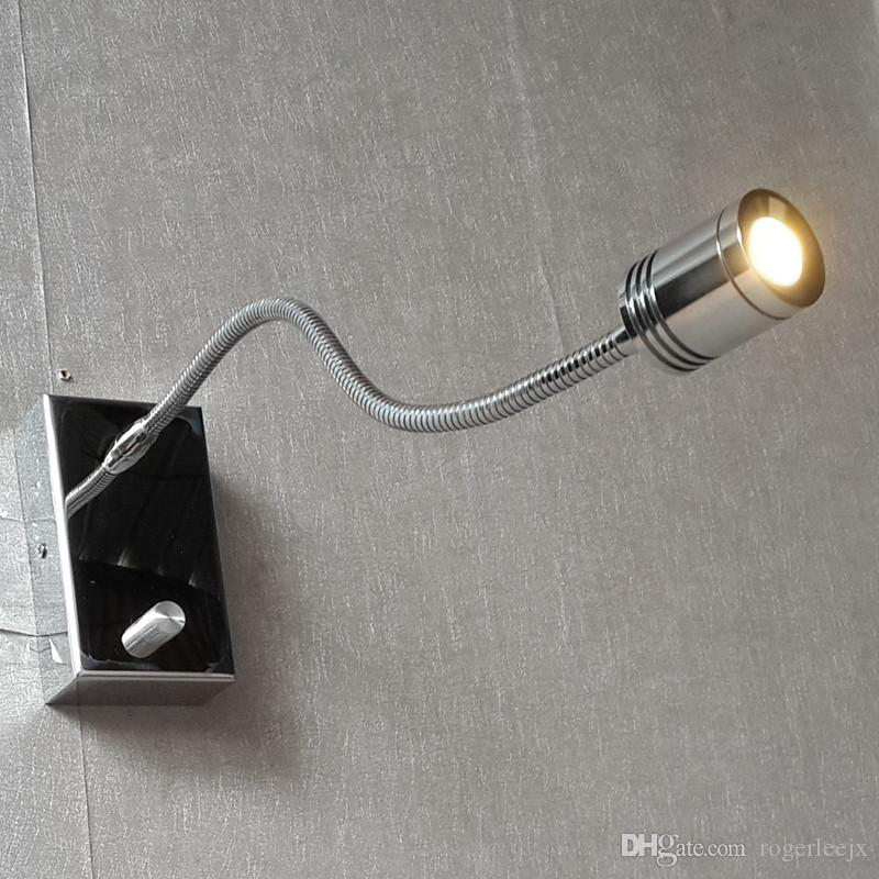 Topoch Lighted Headboards Lamp Knob ON/OFF/Dimmer Switch Alumimum Hose Flexible CREE LED 3W 200LM Elegant Chrome Finish
