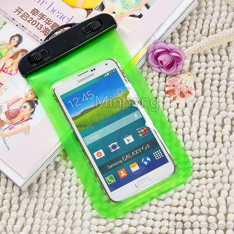 Sacchetto impermeabile della cassa del sacchetto l'iphone 6s Inoltre Samsung S6 S7 bordo del cellulare prova dell'acqua del telefono cellulare subacquee dei sacchetti dei sacchetti a secco con cordino