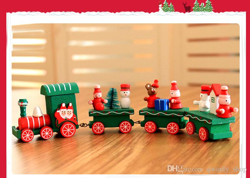 Small Mini Wooden Christmas Train Charming Lovely Christmas Cars Innovative Gift for Children Diecasts & Toy Vehicles