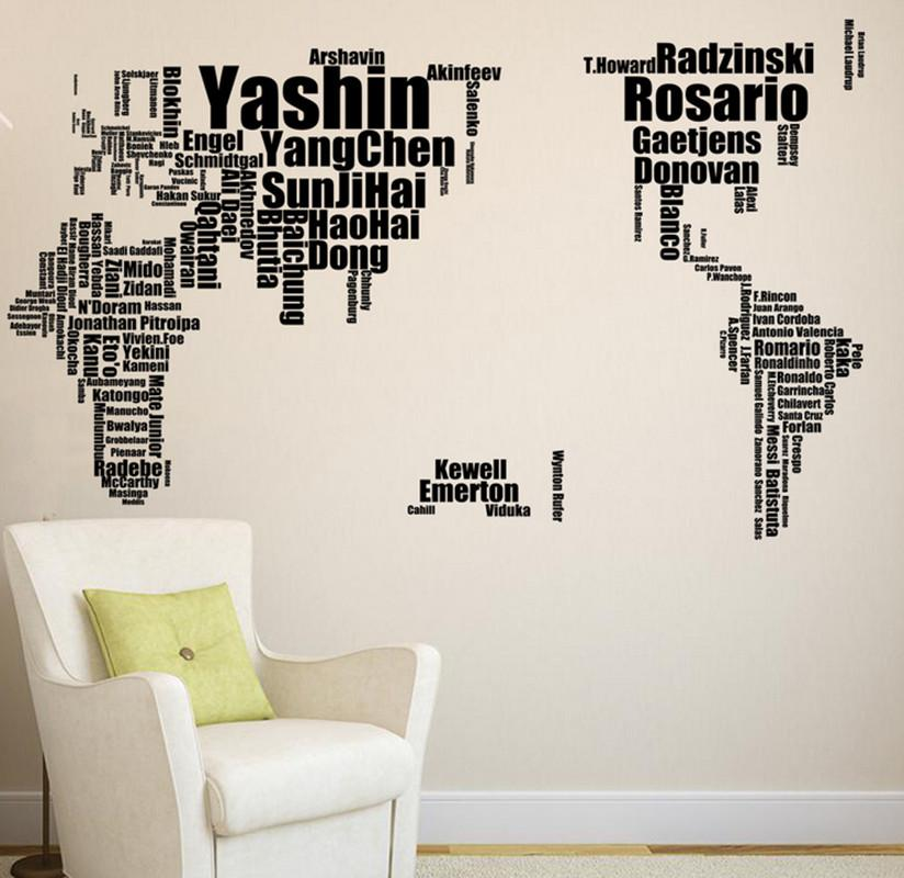 World map stickers creative football celebrity world map black world map stickers creative football celebrity world map black english alphabet world map wall sticker map room wall stickers roommates stickers from gumiabroncs