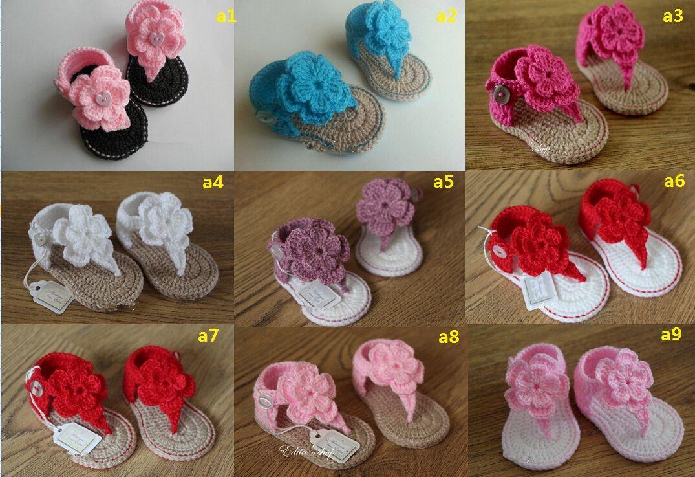 Beautiful Flower Baby Crochet Wool Sandalsmmer Soft Bottom Flip