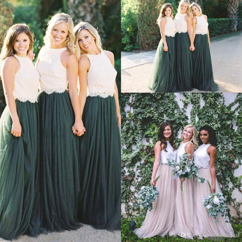 2018 two tone lace crop bridesmaid dresses hunter green country 2018 two tone lace crop bridesmaid dresses hunter green country maid of honor dresses long plus size junior wedding party guest gowns contemporary ombrellifo Choice Image