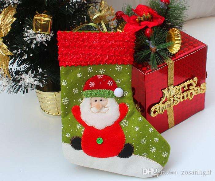 2015 Thanksgivin Christmas Decorations Gifts Santa Snowman Deer Stocking Xmas Home Decorations 26cm Hight Best Gifts for children
