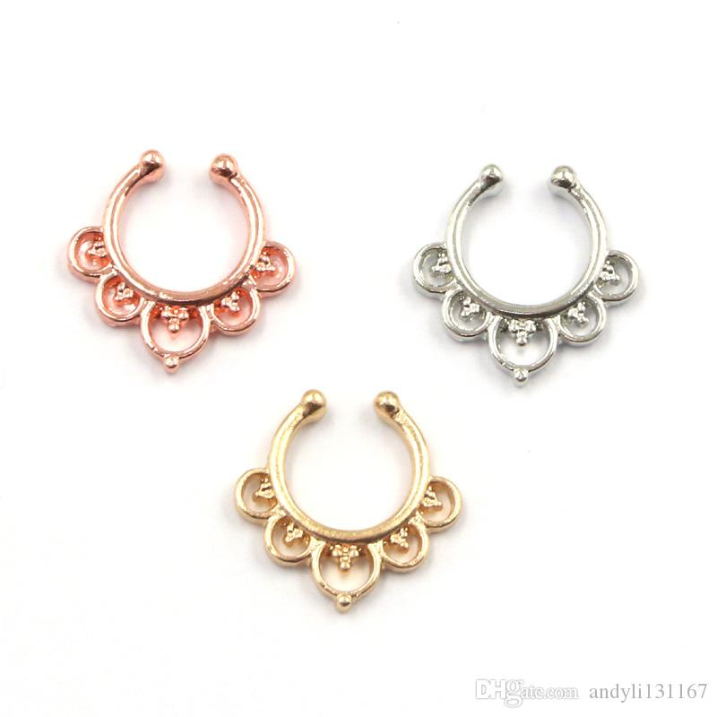 mixed punk enamel beard flower faux piercing nez alloy gold and silver nose clip on fake septum ring N0035