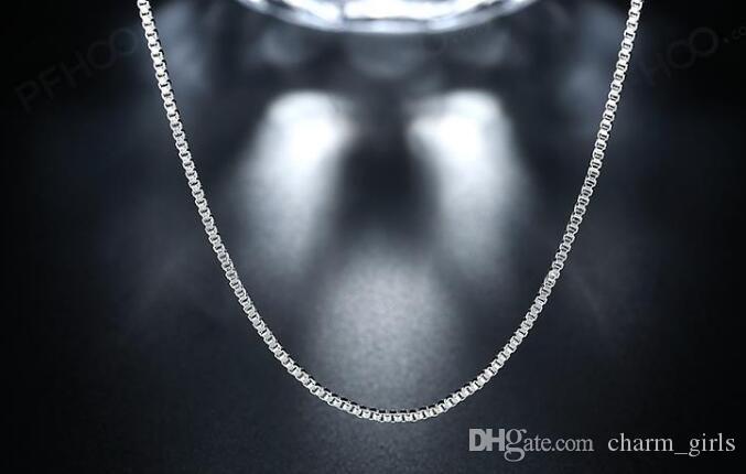 2021 Neue Mode / 925 Sterlingsilber 1mm Kastenkette Halskette 16