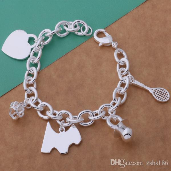 2015 новый дизайн стерлингового серебра 925 покрытием мульти кулон браслет ювелирных изделий партии подарок для женщины высокое качество Бесплатная доставка
