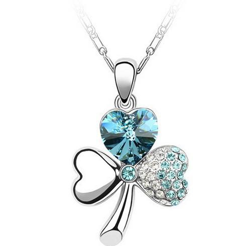 Стерлингового серебра 925 кулон ожерелья трехлистный клевер любителей подарок кристалл горный хрусталь клевер любовь сердца подвески многоцветный бесплатная доставка DHL