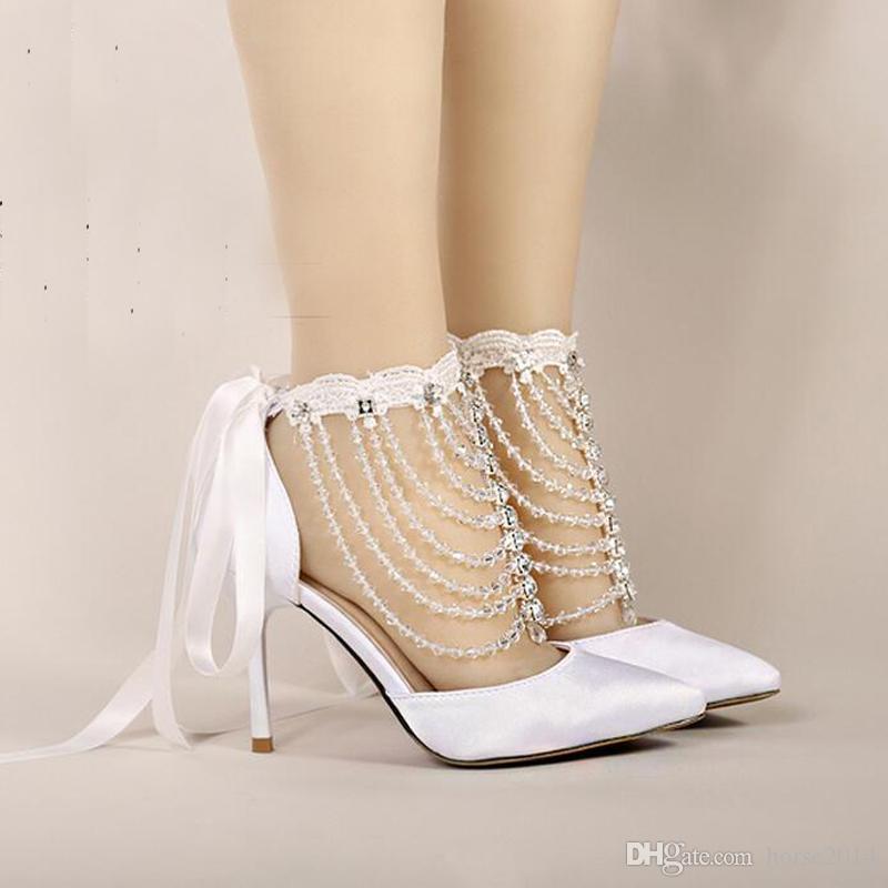 Sommer High Heel Brautschuhe Weiß Satin Kristall Handschlaufe Sandalen Frauen Bankett Hochzeit Schuhe Spitz Handgefertigt