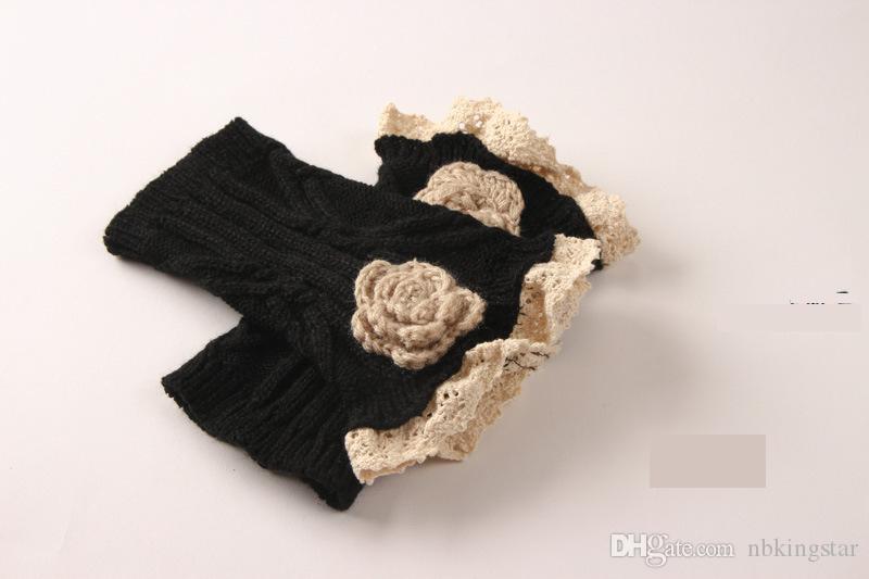 Новая осень цветочные зимние загрузки манжеты женщин пряжи вязаные крючком роза цветок гетры 50 пар / лот бесплатная доставка по DHL