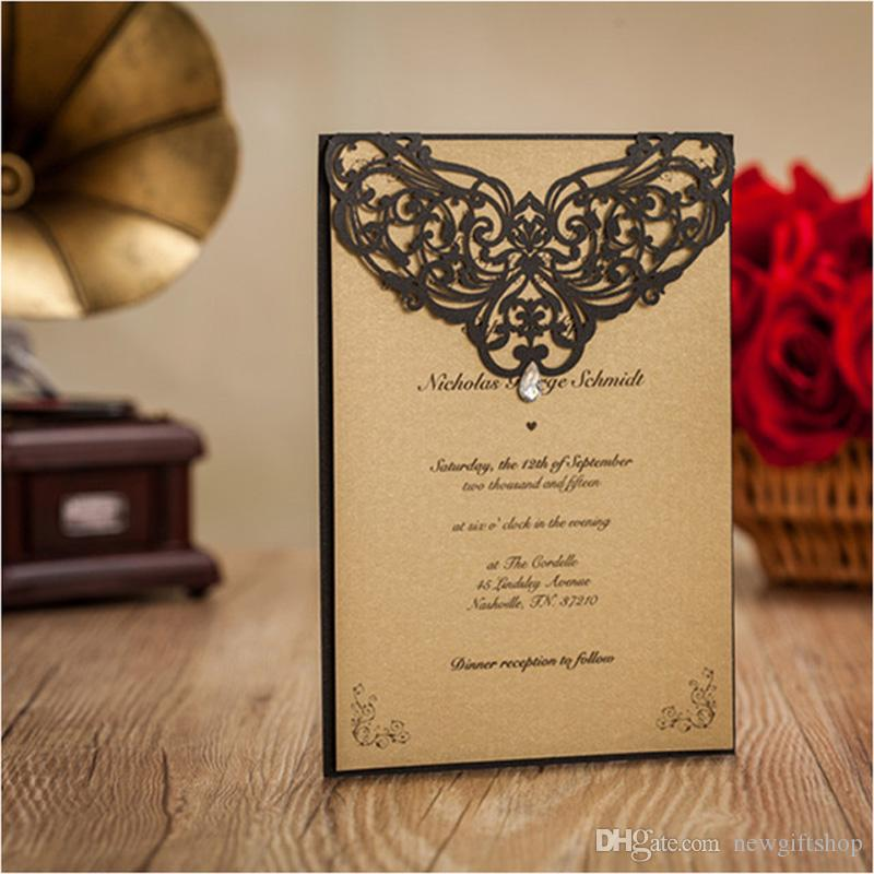 Luxury Rhinestone Gem Diamond Floral Wedding Invitations