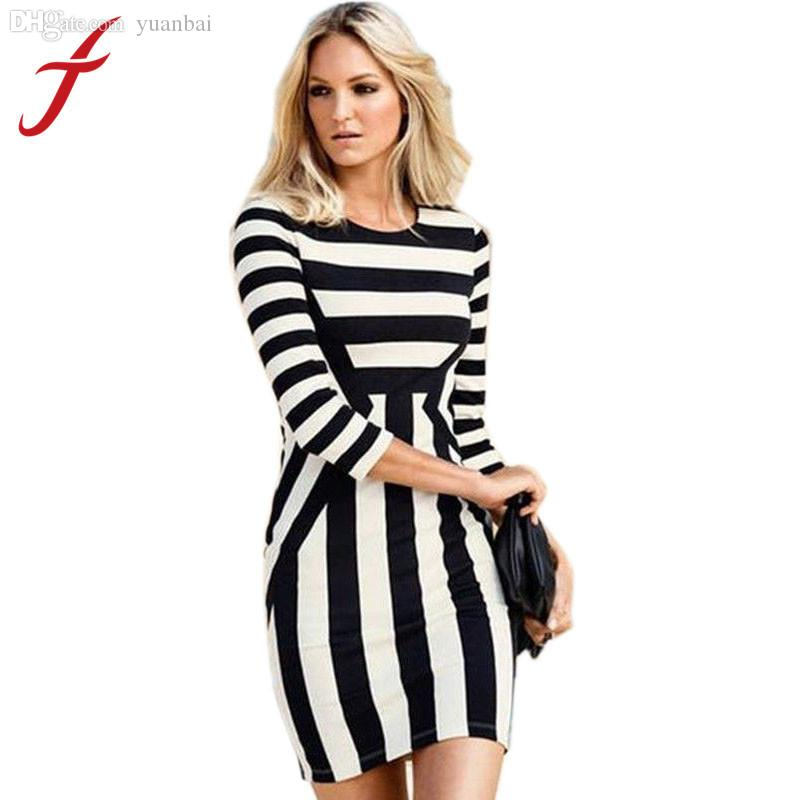 Wholesale Feitong Women Summer Casual Clothing Black+White Striped ...