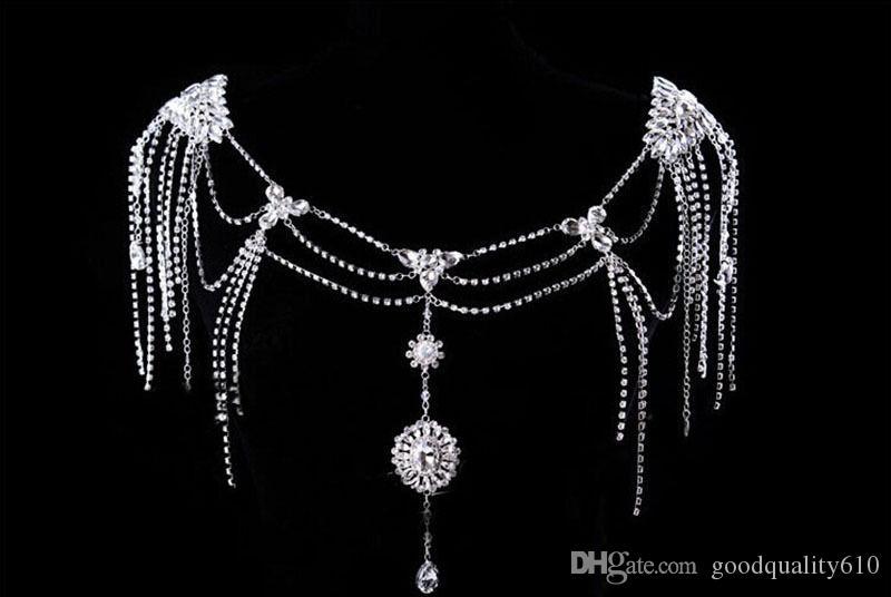 هيئة الحلي الماس الكريستال حجر الراين الشرابة سلسلة الكتف قلادة التفاف الرأس العروس الزفاف