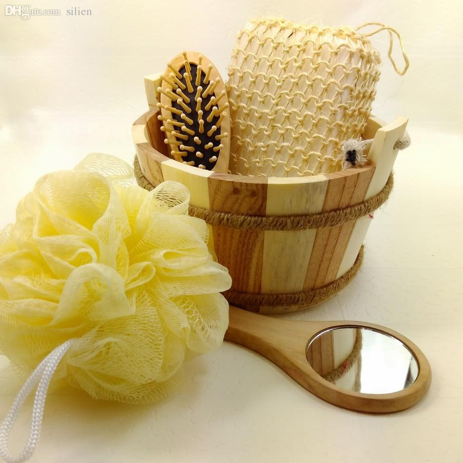 Wooden Bath Set Wooden Comb Mirror Bath Sponge Bathroom
