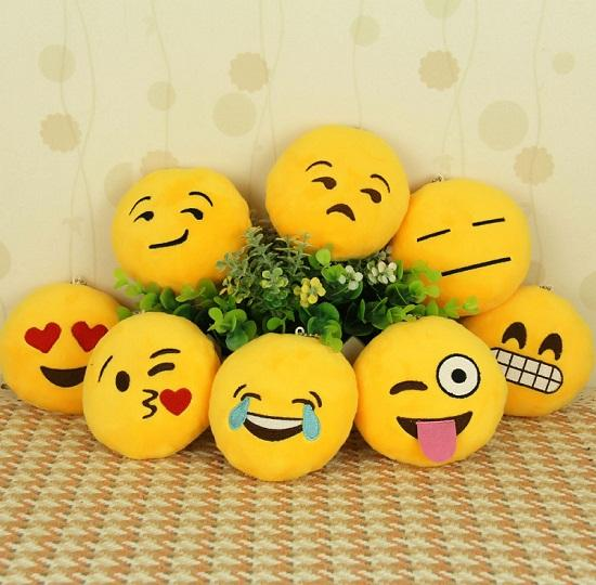 Lovely 10cm Emoji Smile Small pendant Emotion Yellow Round QQ Expression Bag Ornaments Stuffed Plush doll toy Mobile pendant Key Chains