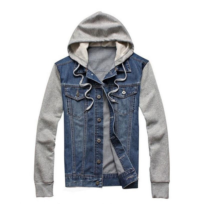 18ebc50592d Denim Jacket Men Hooded Sportswear Outdoors Casual Fashion Jeans Jackets  Hoodies Cowboy Mens Jacket And Coat Plus Size 4XL 5XL Avirex Leather Jackets  Nice ...
