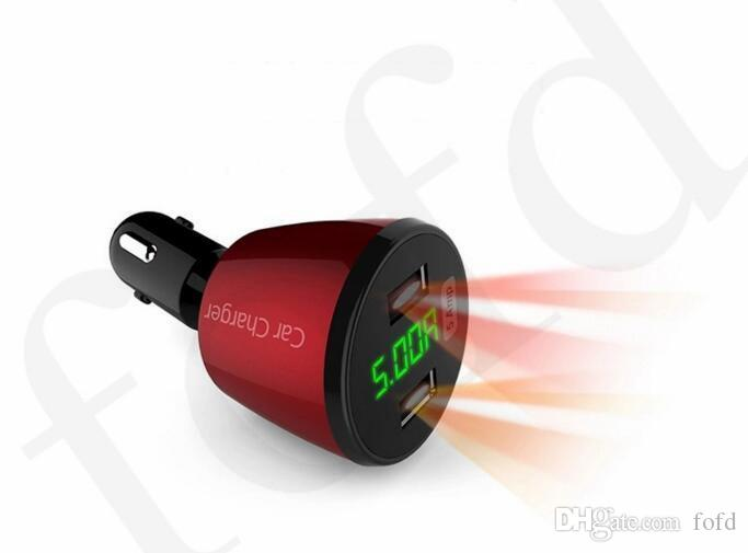 5A Car Charger 360 Degree 12-24V Dual Usb 4 in 1 Voltage/Temperature/Current Meter Tester Adapter Digital Display Fast charger