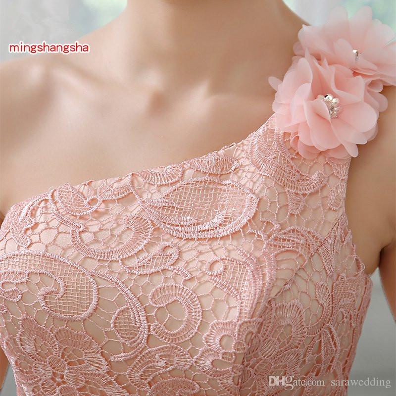 ピンクのファッションショートレースシフォンの花嫁介添人ドレス2019ストラップレスパーティードレスガウンA-Fスタイル混合注文