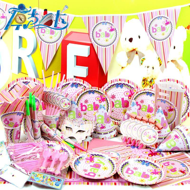 2019 New Pink 1 Year Old Luxury Kids Birthday Decoration Set Cartoon Theme Party Supplies Baby Pack From Naland 6841