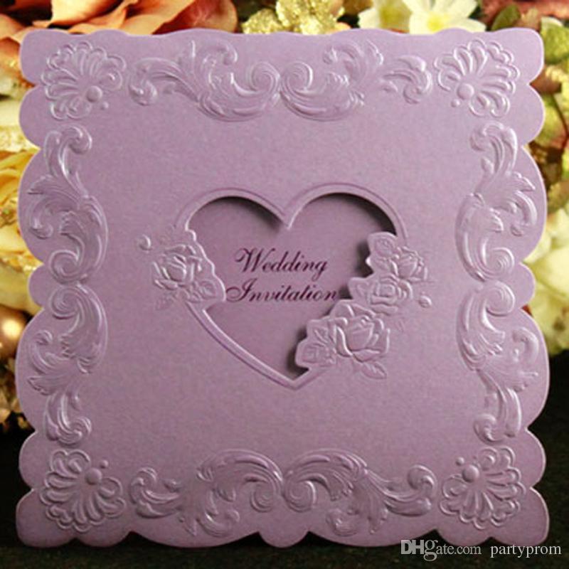 Inviti di nozze Carte di invito di alta qualità creativa Personalizzate 3 volte Inviti di decorazione cuore viola Colore rosso beige