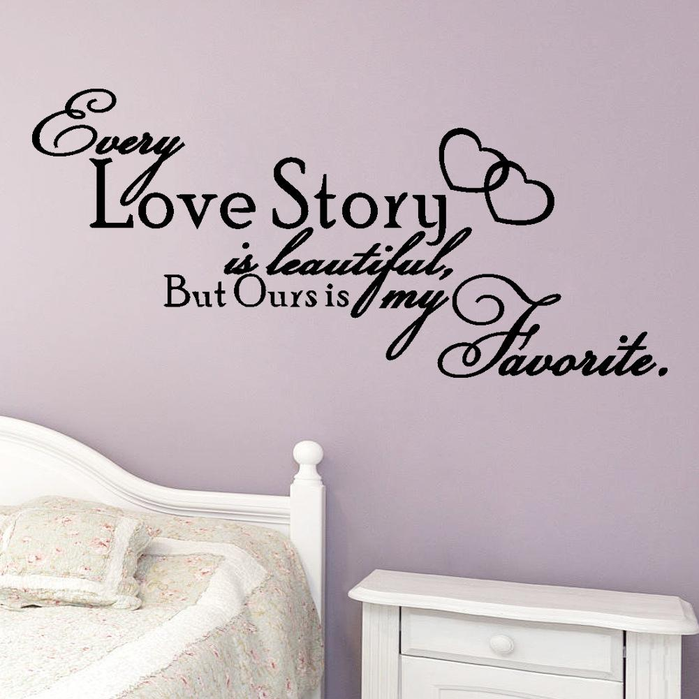 Every Love Story Is Beautiful Quote Vinyl Wall Art Sticker For