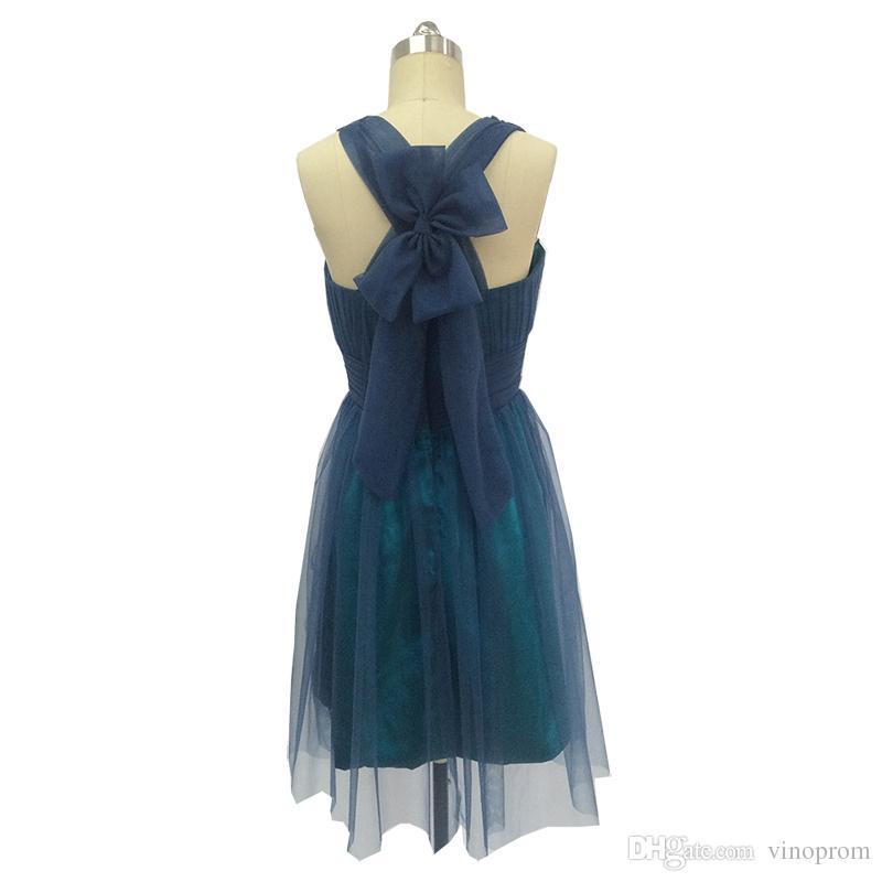 Vinoprom Real Phot Vestido De Coctel Corto 2018 A-line V-Neck Chiffon Tulle Dark Navy Blue Cocktail Dress Party
