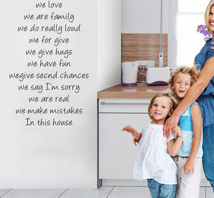 house rules we love quote wall stickers home decorations diy removable vinly wall decals living room wall decals