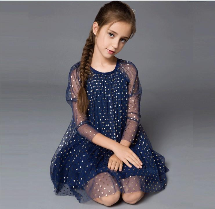 ab7325189bf 2019 High Quality Girls Summer Dresses Net Yarn 3 4 Sleeve Dot Dress ...