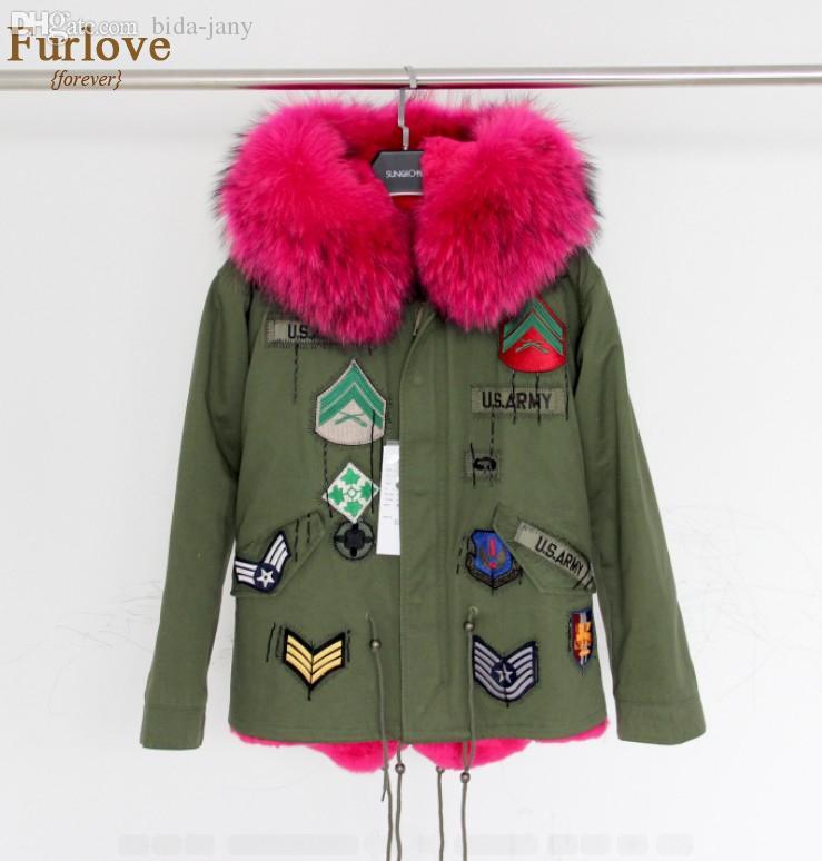 Wholesale Army Green Jacket Women Winter Coats Thick Parkas Real Raccoon  Fur Collar Hooded Rex Rabbit Fur Lining Outwear British Style UK 2019 From  Bida ... 7165f075c
