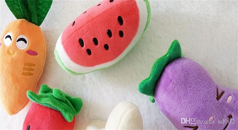 Dog Toys Squeaky Plush Sound Fruits Vegetables Pet Puppy Chew Squeaker Creative Design Pet Toy 2 8em C R