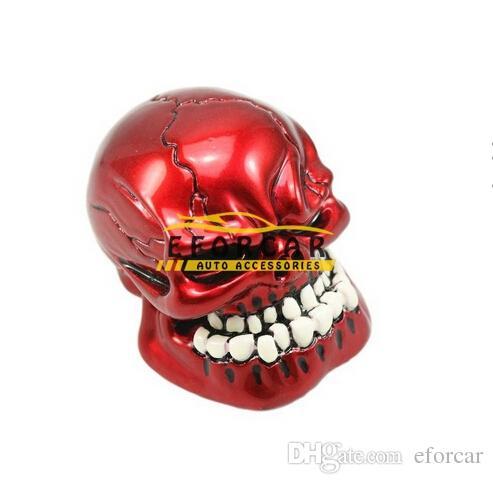 Kit de bouton de changement de vitesse manuel universel pour voiture Wicked Skull Skull Bouton de changement de vitesse Personnalité Transmission Bâton Rouge / Noir