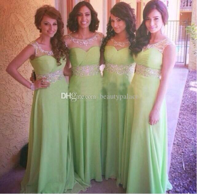 Длинные Зеленые платья подружки невесты 2016 Sheer Scoop шеи шапка рукав блестки кристаллы Vestidos Maxi формальное ведущее платье для свадьбы