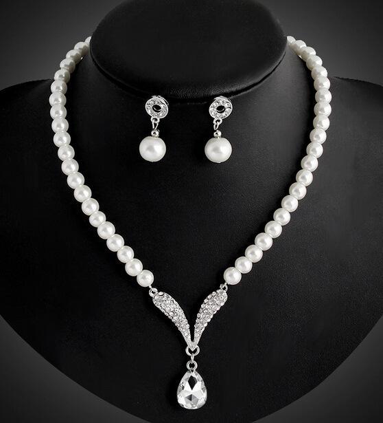 Комплект украшений для подружки невесты для свадьбы Кристалл Rhinestone Tear Drop-Shaped Модные украшения Жемчужное ожерелье подвески Серьги Партия Ювелирные наборы