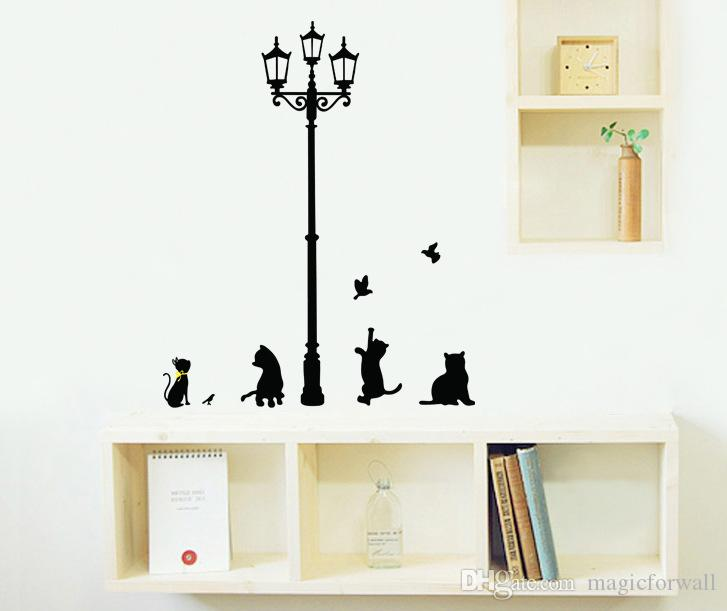 The Black Cat under the Road Lamp Playing Wall Stickers Living Room Bedroom Wall Decals Removable PVC Wall Art Mural Poster Wallpaper Decor