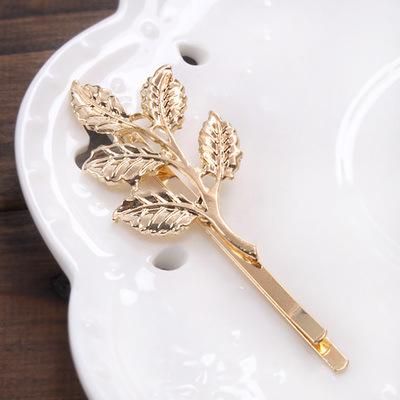 Nice New Top Design Fashion Gold Alloy leaves Hair Head jewellery Hairpin Gift Leaves Hair Clips Barrettes Side clip Wedding Hair Jewelry