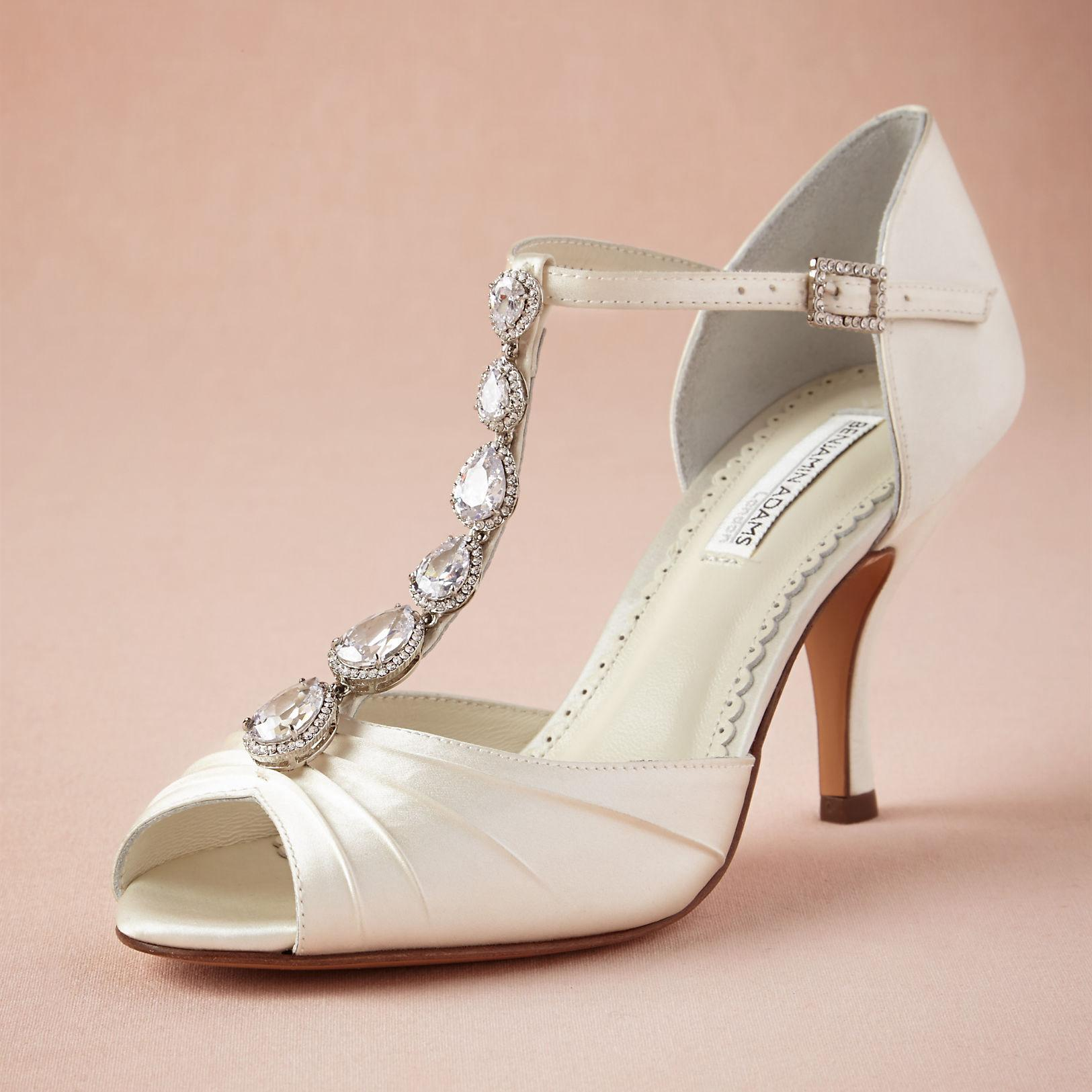 Vitange Satin Wedding Shoes Handmade Leather Pumps T Straps