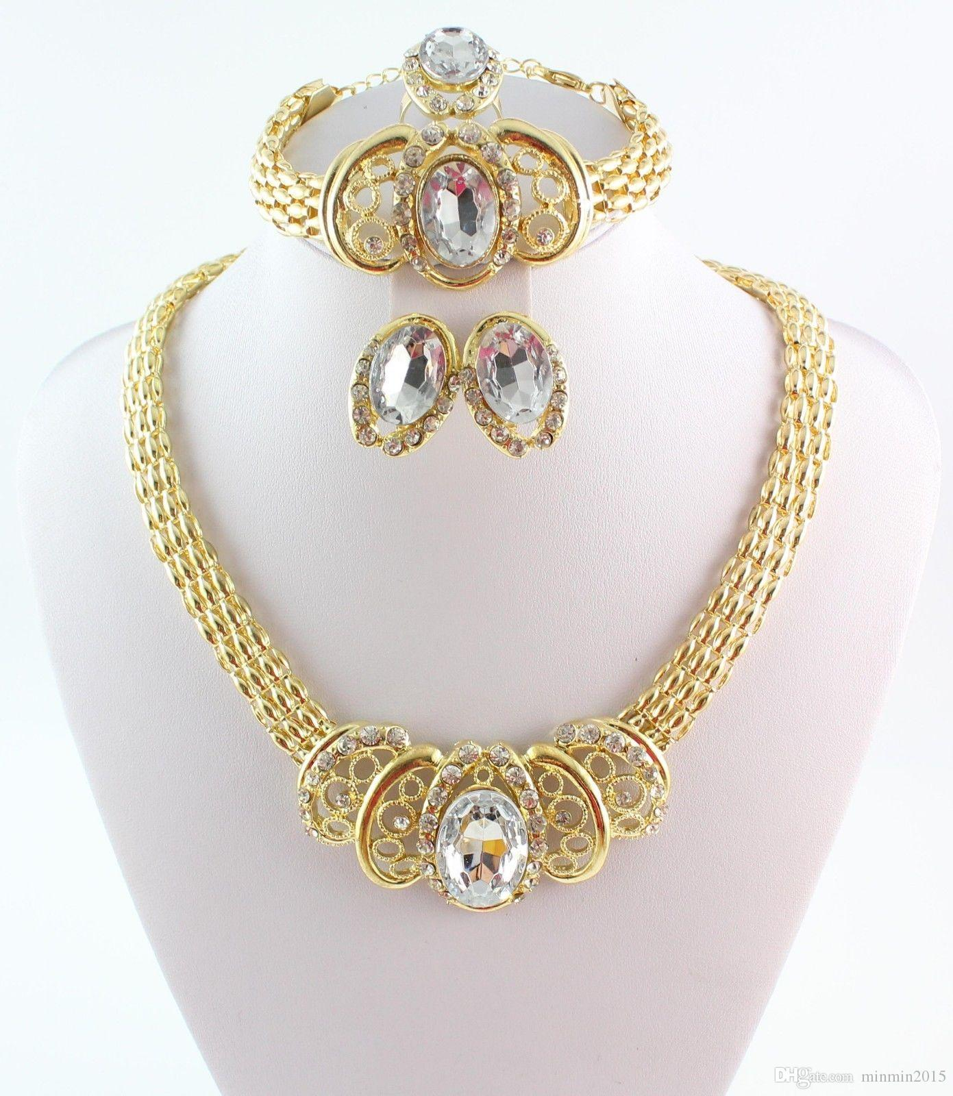 New Arrival Gold Plated Wedding Jewelry Set Classic Rhinestone