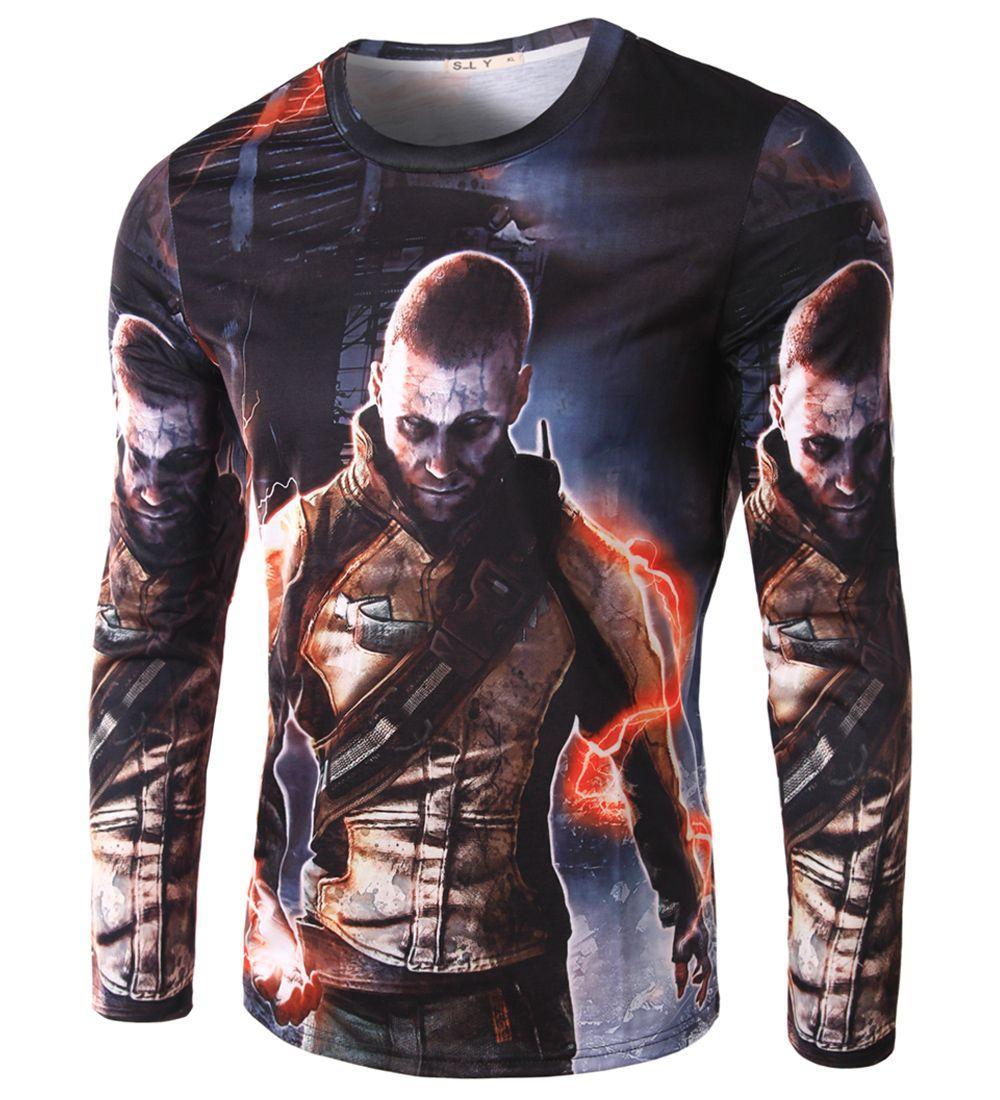 New Fashion 3d Tshirt Men Wild Stylish Soldier Design Long Sleeve ...