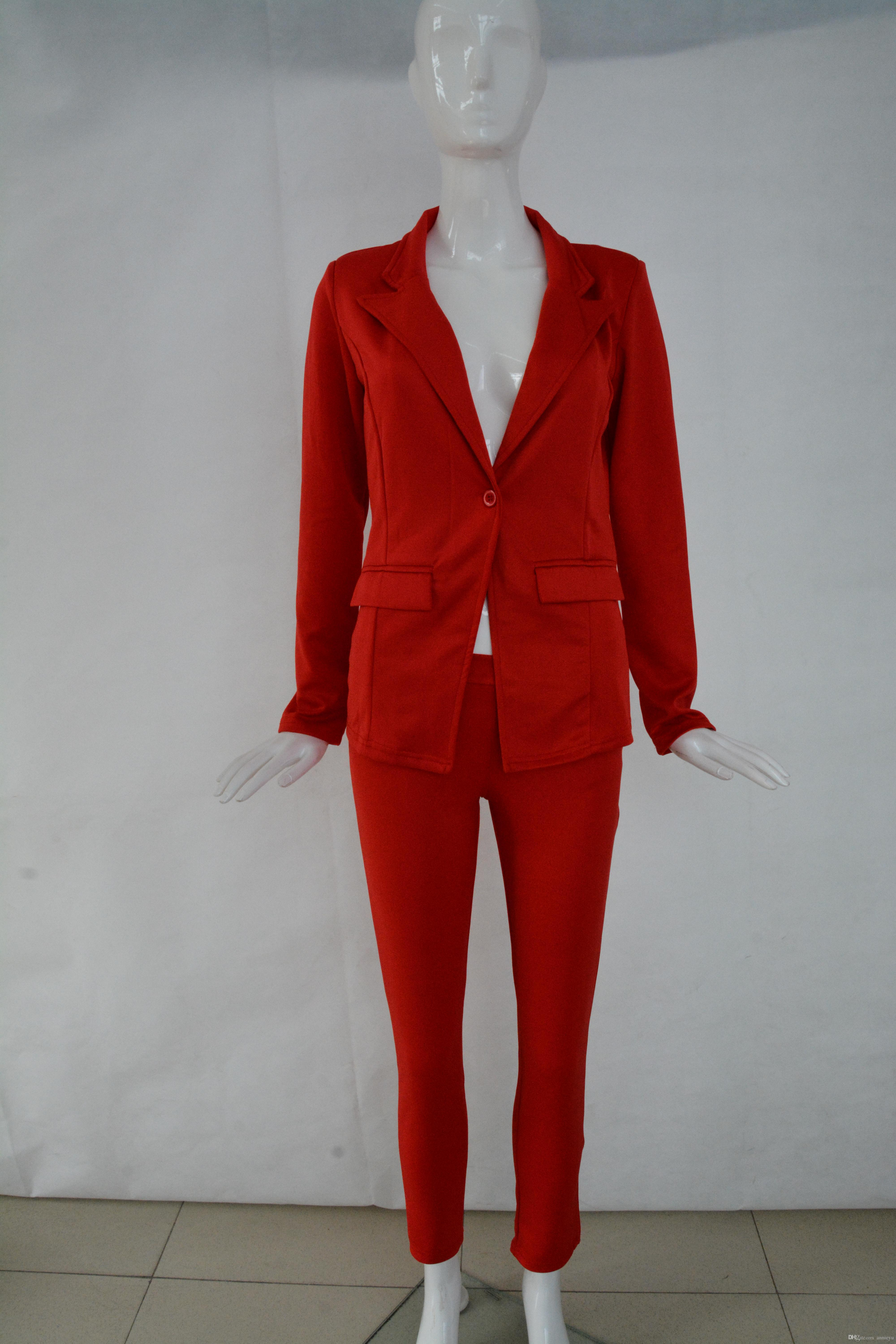 2016 OL style women hot red suit slim blazer and pants suit Office Lady Suits Business Outfits Casual Girls Suits For Work