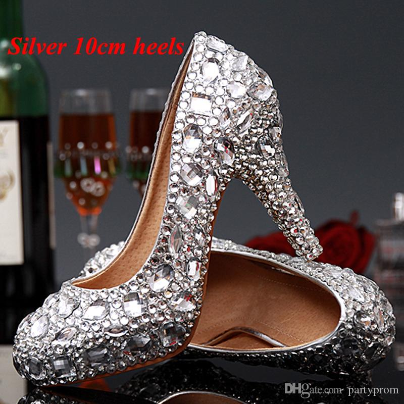 eff506ce6cf Luxury Graduation Party Prom Shoes High Heel Silver Crystals Rhinestones  Bridal wedding shoes Diamond Lady Shoes for Wedding Party