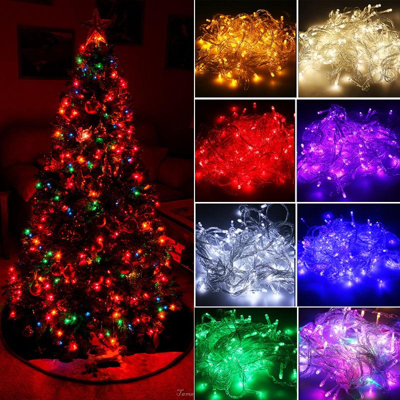 best website a2574 72b01 Christmas Eve Christmas Tree Multicolor Outdoor Decoration Lamps LED String  Lights With Tail Plug 10M 100LED For Wedding/Christmas/Garden