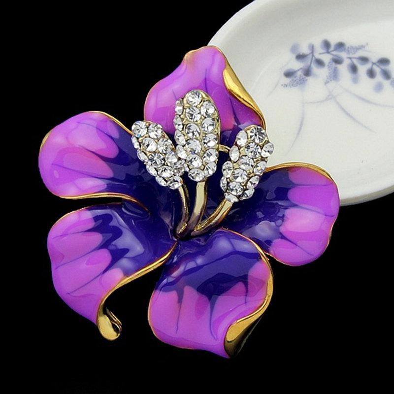 Kadınlar Erkekler Moda Takı hediye için Altın Çiçek elmas Broş iğneler Korsaj Emaye Elmas boutonniere Çubuk Korsaj Düğün Broş