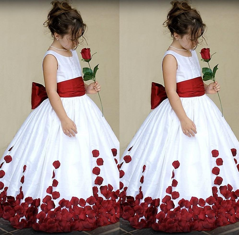 White And Red Kids Wedding Dress Sash With Big Bow Jewel Neck