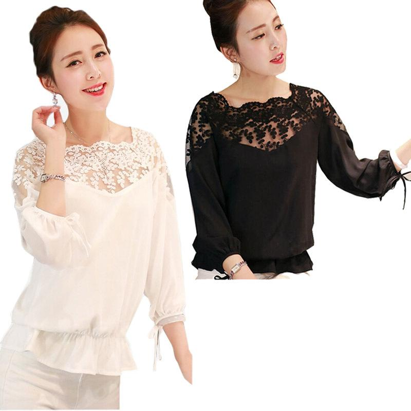 New Fashion Women Lady Spring Sexy Long Sleeve Lace Shirt Casual