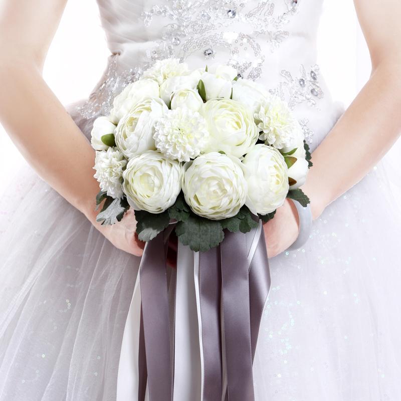 Grosshandel Elegnat Whhite Rosenbrauthand Blumen Kundenspezifische