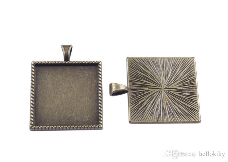 50 stks 1 inch cabochon-instellingen hanger trays lijm op bail fotolijst charms 25mmx25mm