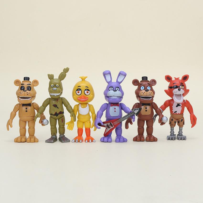 6pcs /Set Five Nights At Freddy S Action Figure Toys Fnaf 10cm Foxy Freddy  Chica Freddy Sister Location Pvc Model Dolls Kids Gift