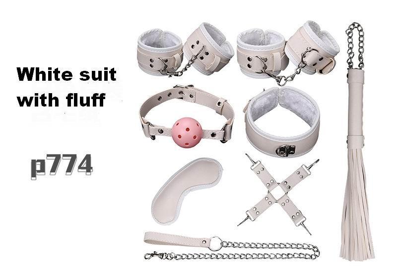 Produtos do sexo 8 Pçs / set BDSM Bondage Set Couro Fetiche Adulto Jogos Sex Toys para Casais Jogo Escravo SM Produto Collar Eye Mask