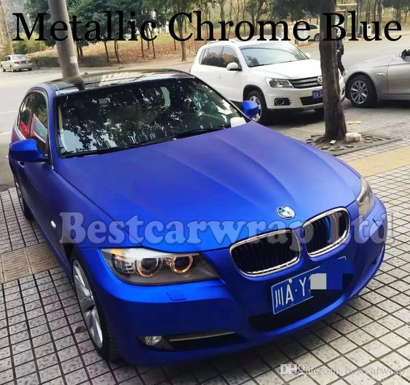 Metallic Matte Chrome Blue Vinyl Wrap With Bubbles Free